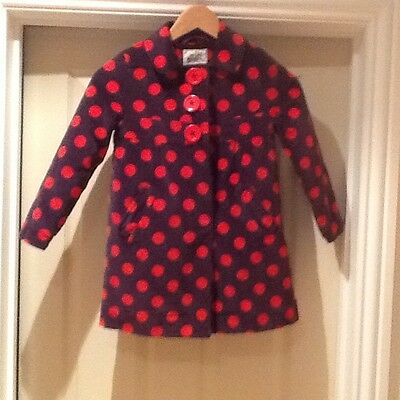 Mini Boden beautiful velvet  polka red and purple coat age 5/6