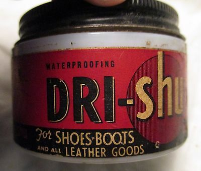 Antique Vintage MILK GLASS JAR of DRI_SHU for Shoes & Boots Leather ADVERTISING