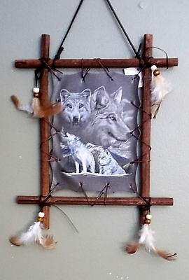 "New Howling Grey Wolfs Wolf Black & White Dream Catcher in wooden Frame 9"" x 11"