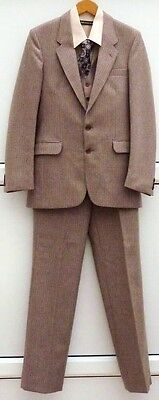 "VINTAGE KINGLYNNE BROWN PINSTRIPE WOOL 3 PIECE SUIT Rare Size 36"" Reg Ex Cond"