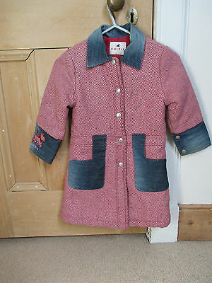 Chipie girls Coat, designer, Age 4, Wool, red herringbone with denim trims