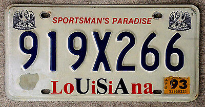 """Red White and Blue Louisiana USA License Plate """"Sportsman's Paradise"""""""