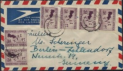 South West Africa Airmail To Berlin  1956 1/6 Rate