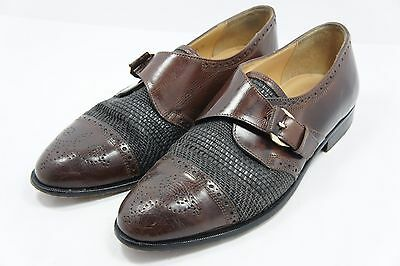 JOHNSTON & MURPHY CELLINI Brown Leather Oxford Shoes Mens Size 8 *MADE IN ITALY*