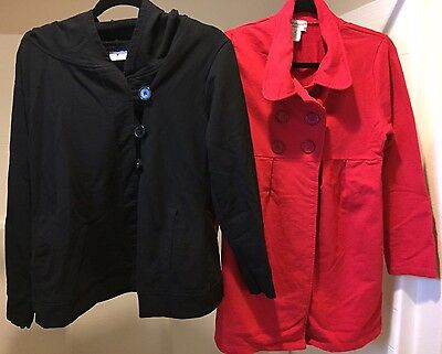 MATERNITY LOT 2 Jackets Black Hoodie Red Pea Coat M MEDIUM