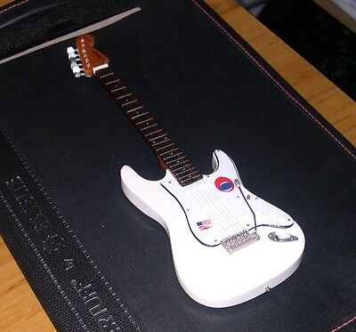 NEW Miniature Electric Guitar and stand Jeff Beck Stratocaster Ivory White