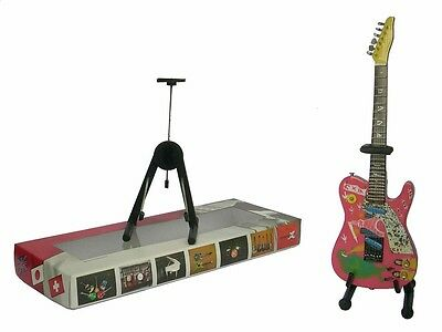 NEW High Quality Miniature Guitar and stand - Telecaster Pink Kaiju Girl