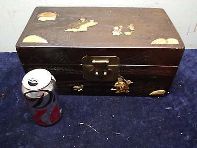 Old Japanese Lacquer Box Mother of Pearl Inlay
