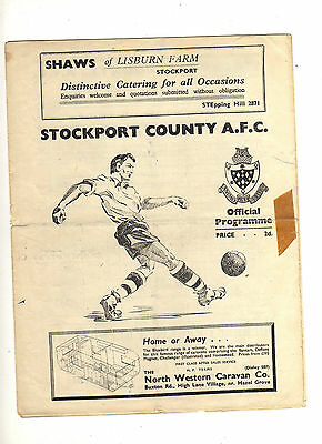 1952-53 STOCKPORT COUNTY v ACCRINGTON STANLEY 4th April 1953 Division 3 North