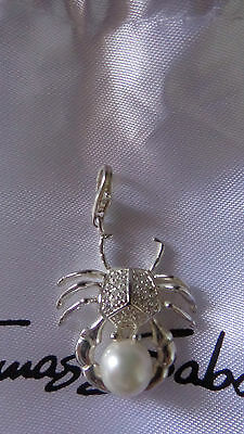Thomas Sabo Sterling Silver And Pearl  Large Crab Charm -Authentic
