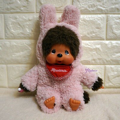 Monchhichi M Size Boutique Fashion MCC Outfit Pink Fur Bunny Ear Hooded Dress
