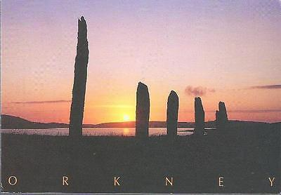 Ring of Brodgar, Orkney - standing stones, sunset - Tait postcard