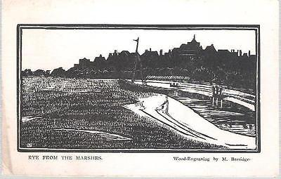 Rye, E Sussex - from Marshes - engraving by Berridge - postcard c.1950s