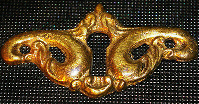 VICTORIAN CAST BRASS Scroll Keyhole Cover - ESCUTCHEON. Drawer, Door.  2.25 wide