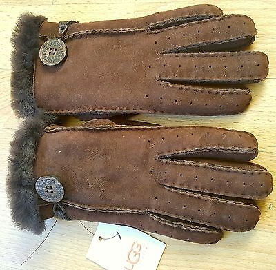 Bnwt Genuine Ugg Bailey Brown Suede Leather Women's Gloves. Small. Rrp £120