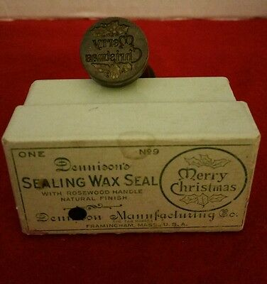 Vtg Merry Christmas Dennison's Wax Seal Rosewood Handle 1960s Original Box Nice!