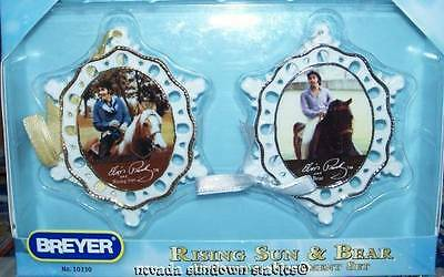 Breyer Christmas Porcelain Ornaments Elvis Prestley with Bear and Rising Sun