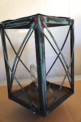 Antique Outdoor Copper Post Lantern Top Coach Style Electrified Lamp Fixture