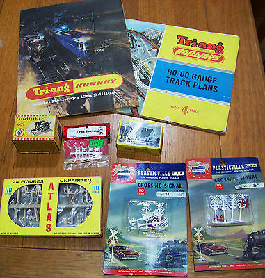Vintage HO scale train layout accessory LOT (new old stock/unused) bench chimney