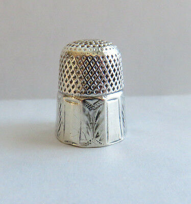 Antique Sterling Silver Paneled Thimble Size 8 Engraved Name