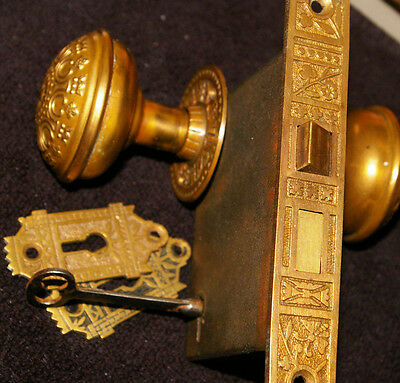 VICTORIAN Brass DoorKnob, Rosettes, Keyhole Covers, Mortise Lock, working Key &