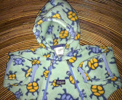 PATAGONIA Soft Fleece Green with Turtles Bunting Suit Baby Boy/Girl 6-9 Months
