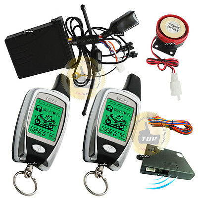 two way motorcycle alarm with remote start function LCD remote vibration warning