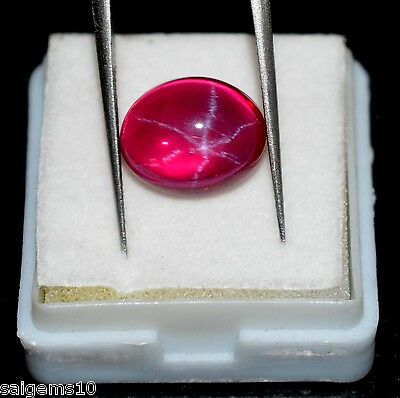 7.55 Ct GGL Certified Natural Oval 6 Rays Blood Red Star Ruby Loose Gemstone