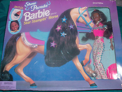 Mattel SHOW PARADE BARBIE STAR STAMPING HORSE African Amer RARE Special Edition
