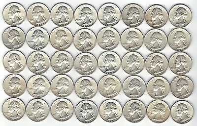 Lot of 40 MS Uncirculated 1964-D Washington Quarters 90% Silver