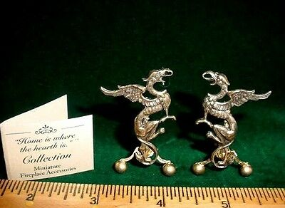 Dollhouse Miniature FIREPLACE ANDIRONS GRIFFINS Metal GOTHIC SET USA made FOS