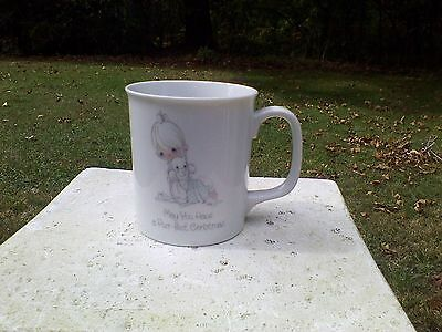 "Precious Moments Tea Coffee Cup Mug ""May You Have a Purr-fect Christmas"" '85"