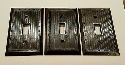 (3) Vintage Art Deco Brown BAKELITE Single Toggle Wall Switch Plate Covers