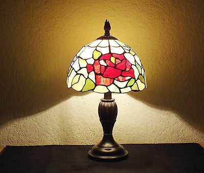 "Lamps A Vintage Tiffany Style 17""h Rose Floral Display Stain-Glass Dresser Lamp"