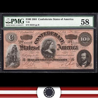 T-65 1864 $100 Confederate Currency *LUCY PICKENS*  PMG 58 comment   33233