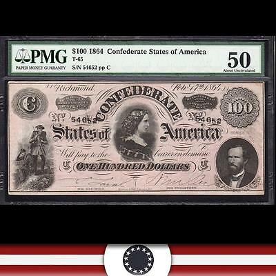 T-65 1864 $100 Confederate Currency *LUCY PICKENS*  PMG 50    54652