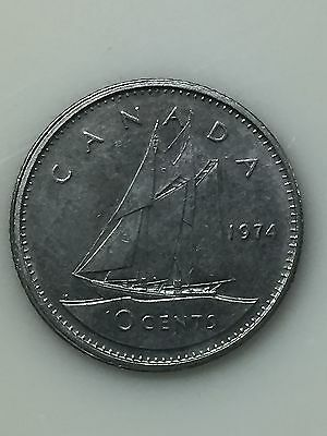 1974 Canadian Dime, 10 Cent Coin
