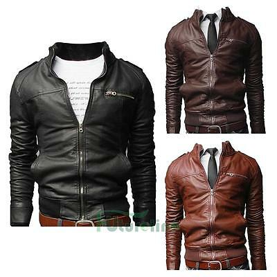 NEW Men's Fashion Slim Fit Collar Motorcycle Biker Leather Jacket Coat Outwear