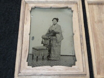 ea05 1880s Japan Old Photo : Japanese Young Woman Standing by Chair / Ambrotype