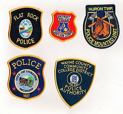 Michigan Police Patches Set Of 5 #1