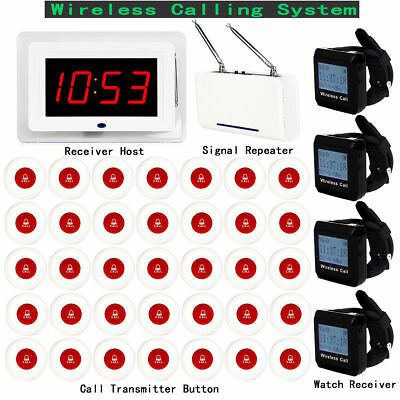 Wireless Restaurant Calling System (1XHost+4XReceiver+1XRepeater+35XCall Button)