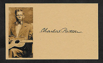 Charlie Patton Delta Blues Autograph Reprint On Original Period 1930s 3x5 Card