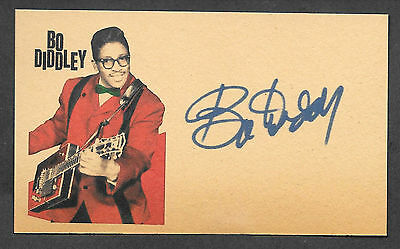 Bo Diddley Autograph Reprint On Original Period 1960s 3x5 Card