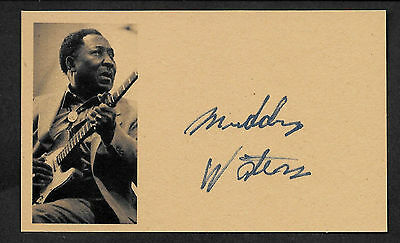 Muddy Waters Autograph Reprint On Genuine Original Period 1970s 3x5 Card