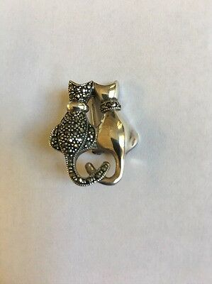Silver And Marcssite Cat Pin Brooch