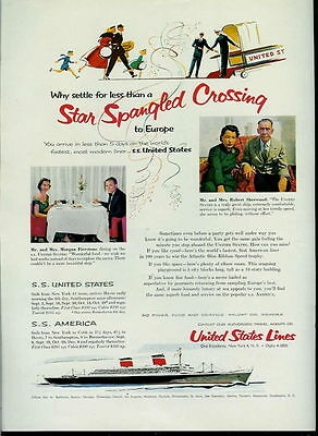 1955 Star Spangled Crossing On United States Line Ad