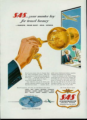 1955 Master Key For Luxury Travel Sas Airlines Ad