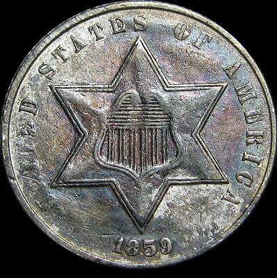 1859 Silver Three Cent Piece 3cp Type Coin  ---- STUNNING ---- #O433