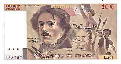 1993 France, French Bank Note, Currency, Paper Money 100 Francs