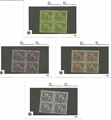 Portugal 1953 Dom Diniz lot of blocks of four, some with shade varieties, MNH